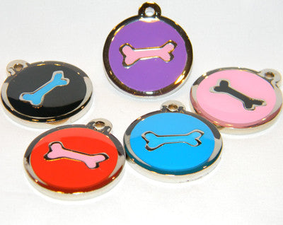 Color Filled Round Bone Pet Tag 5 Colors