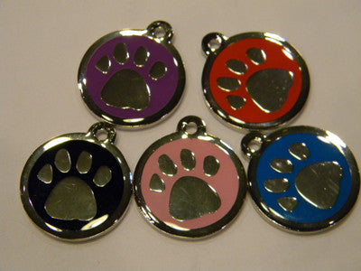 Color Filled Round Paw Prints  Pet Tag 5 Colors