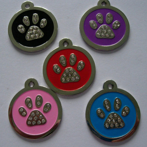 Color Filled Swarovski Heavy Duty Round Paw Print Pet Tag 5 Colors