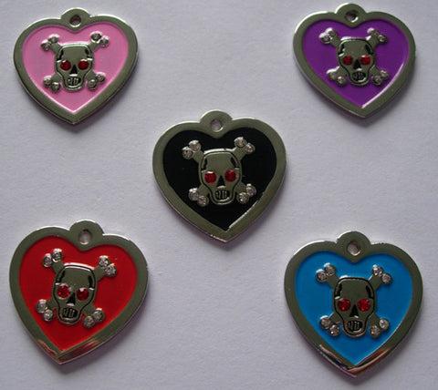 Color Filled Heart Swarovski Skull Pet Tag 5 Colors