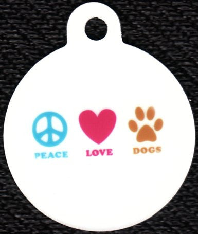 Round Peace Love Dogs Pet Tag