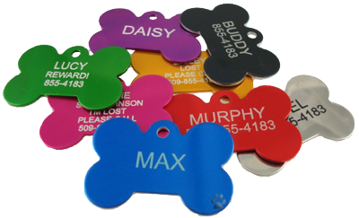 Anodized Dog Bone Pet ID Tag