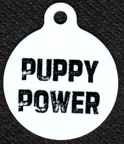 Round Puppy Power Pet Tag