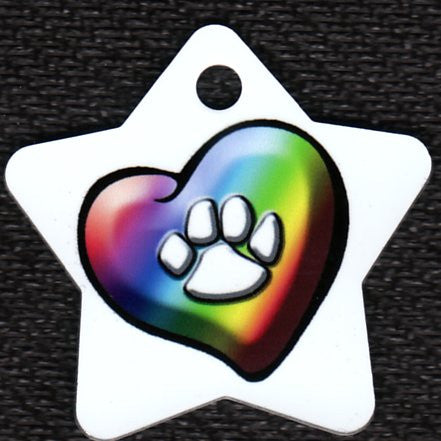 Star Rainbow Heart With Paw Print