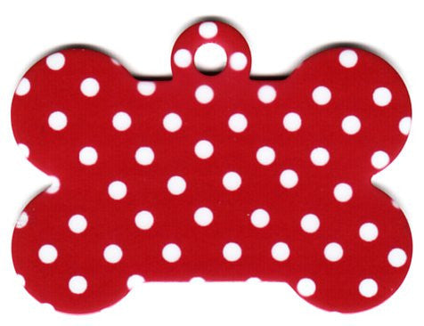 4 Colors Polka Dot Bone Pet Tag
