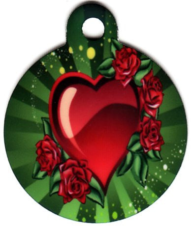 Round Rose Hearts Pet Tag