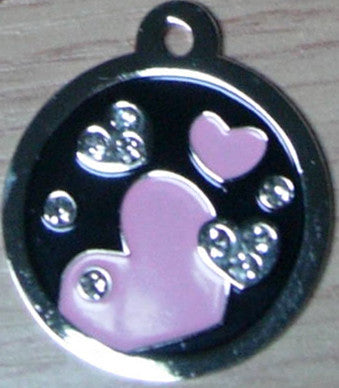 Swarovski Crystal Black With Pink Hearts Pet Tag