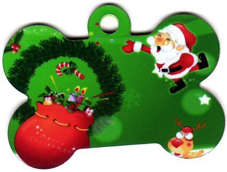 Merry Christmas Santa With Bag Pet Tag