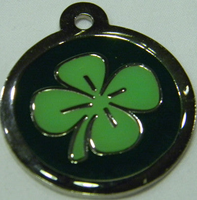 Round Color Filled Lucky Colver Shamrock Pet ID Tag