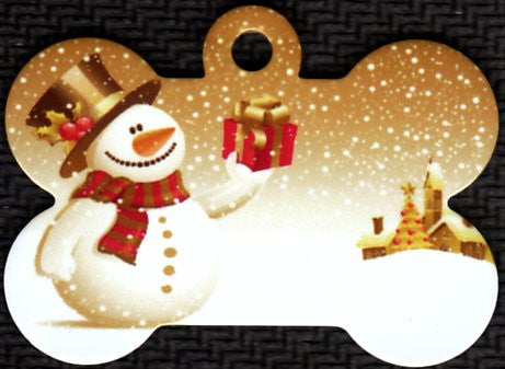Snowman With Present Pet Tag