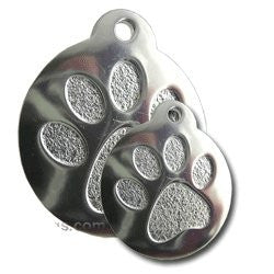 Stainless Steel Round Paw Pet ID Tag