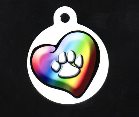 Round Rainbow Heart With Paw Pet ID Tag