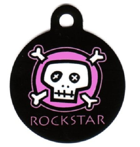 Pink or Blue Round Skulls and Bones Rockstar Pet ID Tag