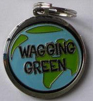 Round Color Filled Wagging Green Pet ID Tag
