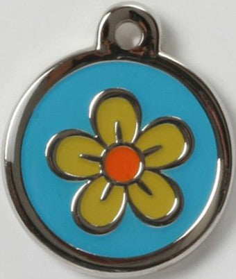 Color Filled Round Yellow Flower With Blue Background Pet Tag