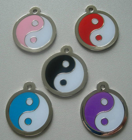 Color Filled Round Yin Yang Pet ID Tag