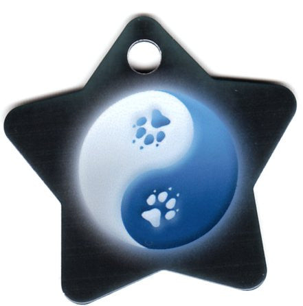 Star Yin Yang Blue & White With Paw Print