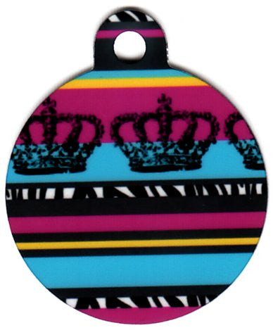 Round Zebra Stripped Crowns Pet Tag