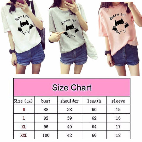 Women's Summer T-Shirt Lovely Bat Printed Short Sleeve Tops New-Dollar Bargains Online Shopping Australia