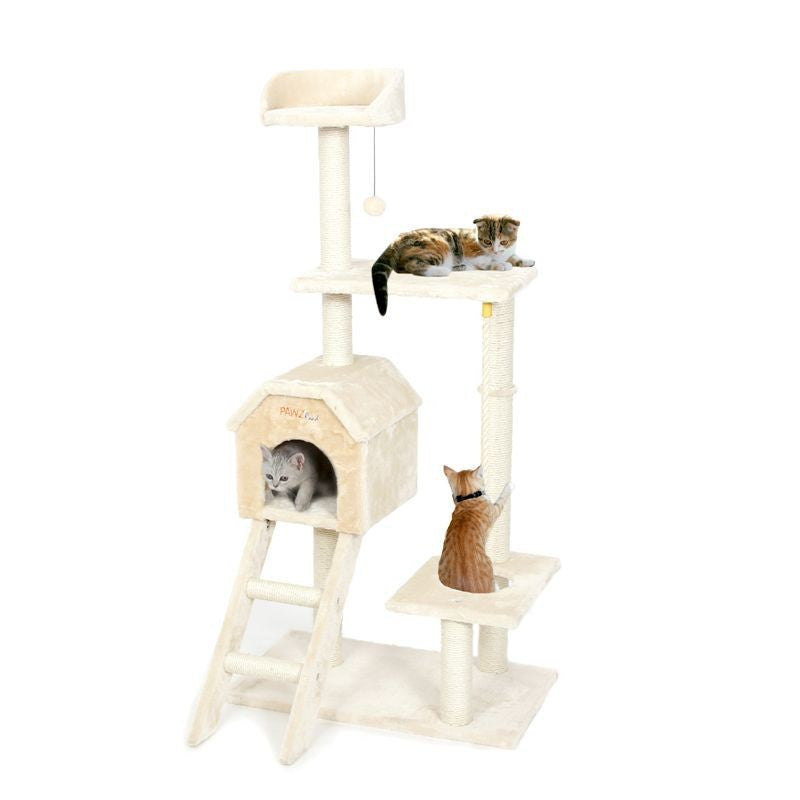 Beige / M / ChinaCat Toys Cat House Bed Hanging Balls Tree Kitten Furniture&Scratchers Solid Wood for Cats Climbing Frame