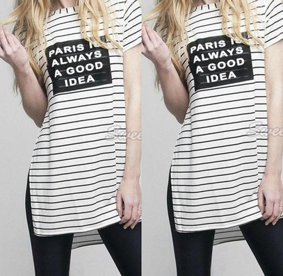 Women Short Sleeve T-Shirt Stripe Letter Print T-Shirt Casual T Shirt Side Split Loose Tops O-Neck Women Summer Tops Tees 41-Dollar Bargains Online Shopping Australia