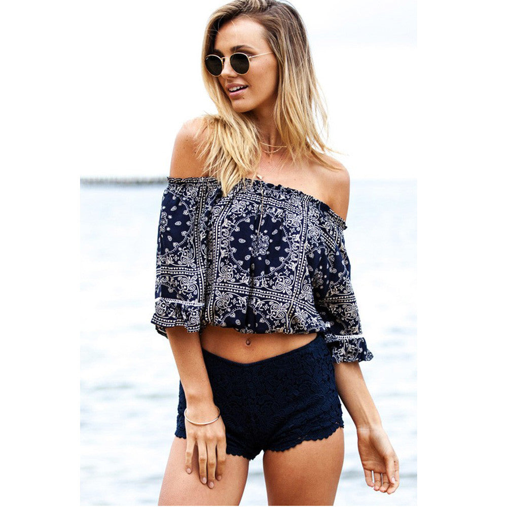 Navy Blue / LWomen Blouse Shirt Sexy Strapless Off Shoulder Medium Sleeve Elastic Print Feminine Femininas Ruffle Top Clothing Clothes