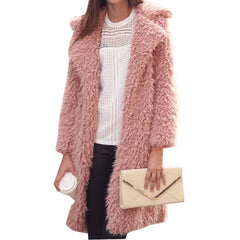 Autumn Winter Women Fur Coat Long Sleeve Cardigan Coat Female Warm Big Size Overcoat Pink Slim Warm Women Outwear Coats-Dollar Bargains Online Shopping Australia
