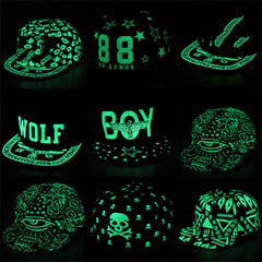 iMucci Graffiti Baseball Cap Hip Hop Fluorescent Light Snapback Caps Men Casquette Women Girl Noctilucence Hats Boy Luminous Hat-Dollar Bargains Online Shopping Australia