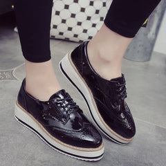 Europe Style Fashion Women Casual Leather Platform Shoes Woman Thick Soled Lace Up Oxfords Zapatos Mujer Ladies Creepers-Dollar Bargains Online Shopping Australia