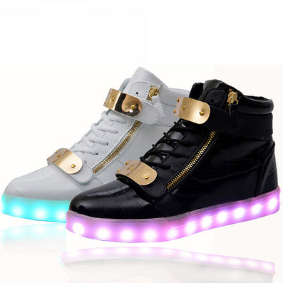 6155c3b24986 lights up led luminous casual shoes high glowing with charge simulation  sole for women   men
