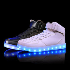 women lights up led luminous shoes high top glowing casual shoes with new simulation sole charge for men adults neon basket-Dollar Bargains Online Shopping Australia