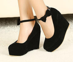 HOT Sexy Women Fashion Buckle Ladies Shoes Wedges High Heels Platform black bow Pumps tenis feminino sapato feminino j3415-Dollar Bargains Online Shopping Australia