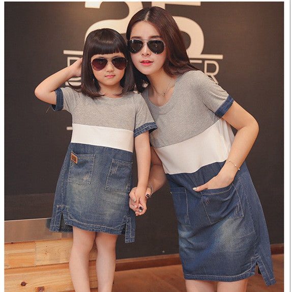 aaf7929cb1ded mother daughter matching dresses summer style mommy and me clothes women  grey white blue denim patchwork