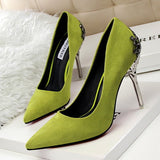 Sexy Women Shoes Red Bottom High Heels Faux Suede Party Pointed Toe High Heel Pumps Ladies Wedding Shoes Bride Office Heels shoe-Dollar Bargains Online Shopping Australia