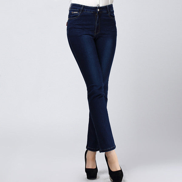 0d3b036145395 Women Jeans Large Size High Waist Autumn Blue Elastic Long Skinny Slim  Jeans Trousers For Women