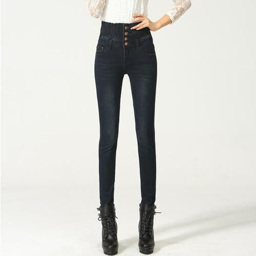 1116500879f87 Jeans Womens High Waist Elastic Skinny Denim Long Pencil Pants Plus Size 40 Woman  Jeans Camisa