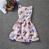 Cartoon Castle Summer Sleeveless Girls Print Dress Knee Length Princess A-Line Dress Clothes For Kids 6 to 12 years Old Kids-Dollar Bargains Online Shopping Australia