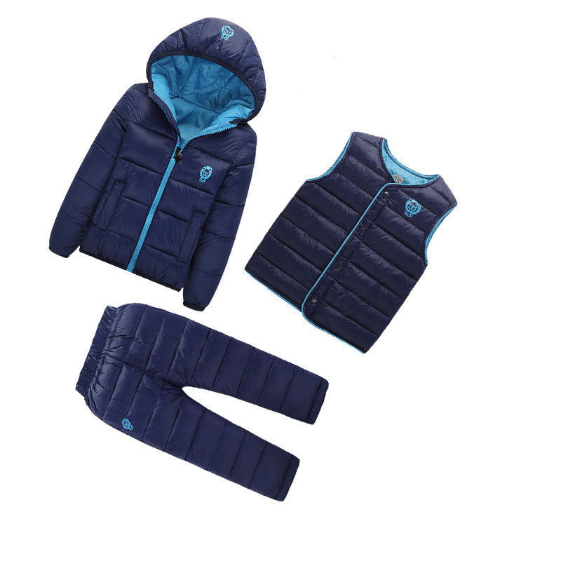 Navy Blue / 3T3 Pcs/1 Lot Winter Baby Girls Boys Clothes Sets Children Down Cotton-padded Coat+Vest+Pants Kids Infant Warm Outdoot Suits