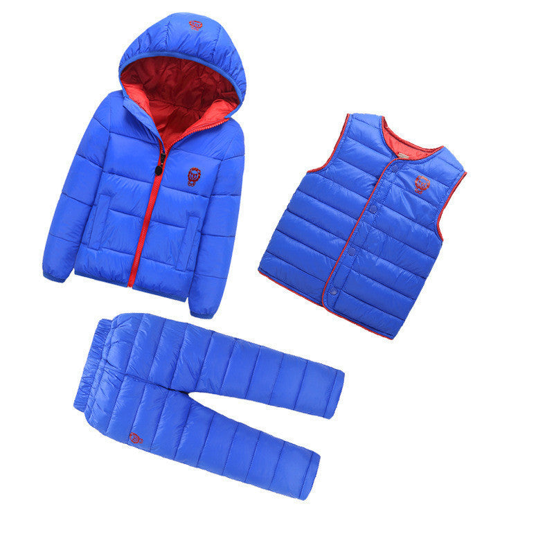 Blue / 4T3 Pcs/1 Lot Winter Baby Girls Boys Clothes Sets Children Down Cotton-padded Coat+Vest+Pants Kids Infant Warm Outdoot Suits