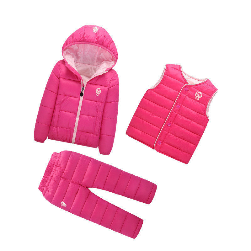 Rose / 73 Pcs/1 Lot Winter Baby Girls Boys Clothes Sets Children Down Cotton-padded Coat+Vest+Pants Kids Infant Warm Outdoot Suits