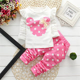 new Spring Autumn children girls clothing sets mouse clothes bow tops t shirt leggings pants baby kids 2 pcs suit-Dollar Bargains Online Shopping Australia