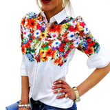New Design Floral Butterfly Printed Women Chiffon Blouses White Shirts Casual Office OL Spring Summer Women Tops-Dollar Bargains Online Shopping Australia