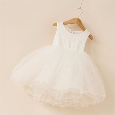 New flower girl party dress baby birthday tutu dresses for girls lace baby vest baptism dresses pearls kids wedding dress-Dollar Bargains Online Shopping Australia