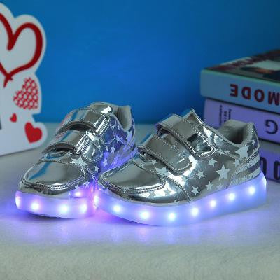 silver stars / 1Casual Luminous Shoes Led kids Fashion Schoenen Met Licht stars Shoes USB Hombre Light Up Chaussure Lumineuse