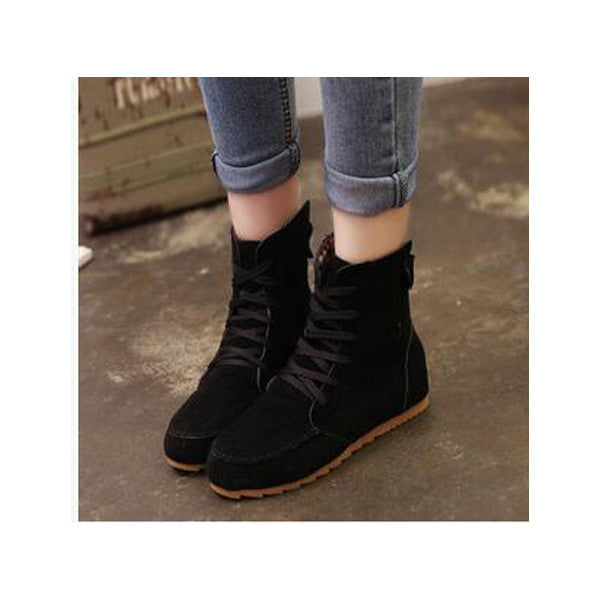 224949ba712 Women lace Ladies sweet Round Toe Flat Shoes Martin Boots Solid Lace Up Womens  Casual Shoes