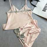 summer style pajamas sets Women Female Sleep Lace Women's Deep V-neck Sexy Spaghetti Strap Shorts Sleepwear silk homewear-Dollar Bargains Online Shopping Australia