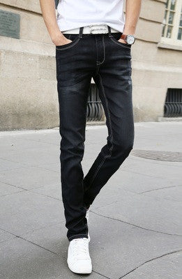 Black / 28Men's Casual Stretch Skinny Jeans Trousers Tight Pants Solid Colors