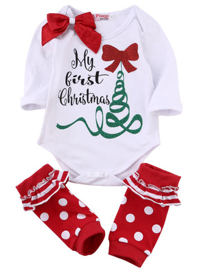New Arrive Autumn Cute Newborn Baby Girl Long Sleeve Bow Romper Bodysuit Sock Outfits Clothes Christmas-Dollar Bargains Online Shopping Australia