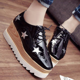 Stars Womens Flats Round Toe Patent Leather Platform Shoes Oxford Lace up Derby Shoes Size 35-39 Brogue Shoes PX69-Dollar Bargains Online Shopping Australia