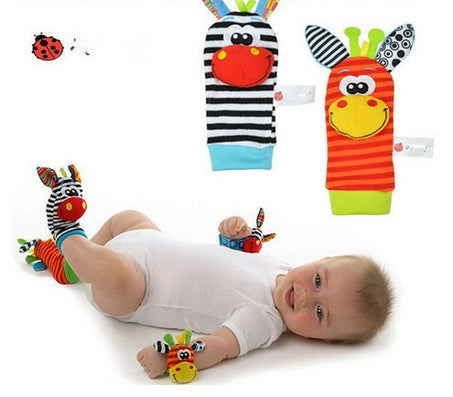 4Pcs(2Pcs Socks+2Pcs Wrists) New Infant Baby Kids Sock And Wrist Rattles Cute Intellectual Developmental Toys Animal-Dollar Bargains Online Shopping Australia